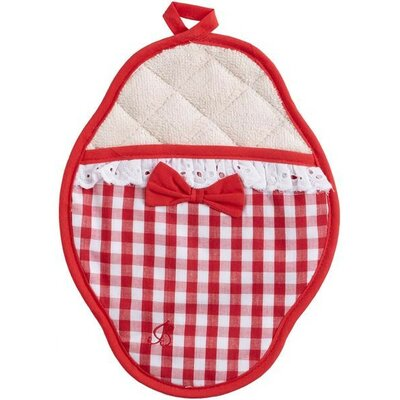 Red And White Gingham Scalloped Pot Mitt With Trim