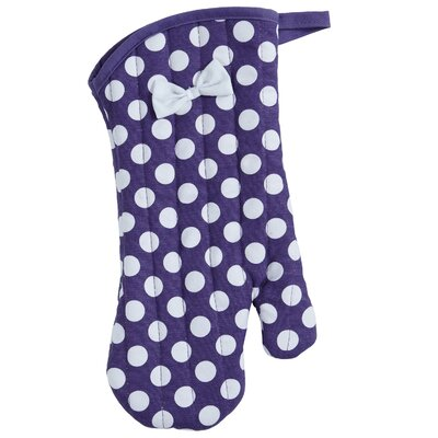 Purple And White Polka Dot Oven-mitt With Bow