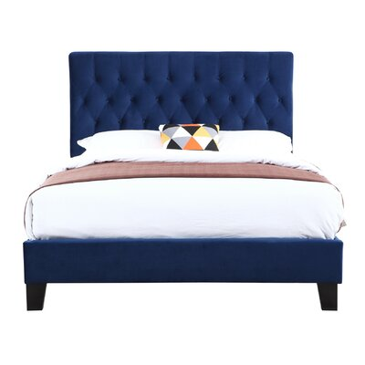 Kirtley Upholstered Panel Bed Size: Twin, Color: Navy