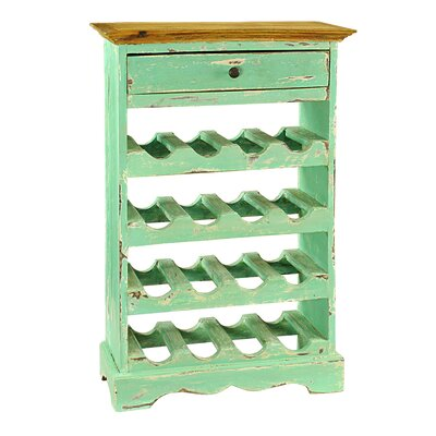 Rathod 16 Bottle Floor Wine Rack Finish: Turquoise