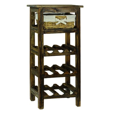 Pervenche 9 Bottle Floor Wine Rack Color: Brown