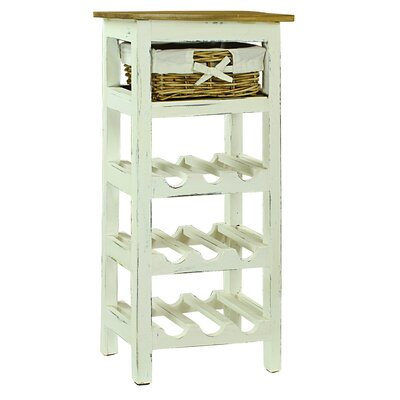 Pervenche 9 Bottle Floor Wine Rack Color: White