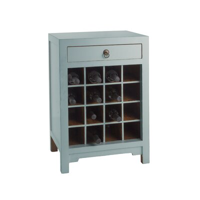 16 Bottle Floor Wine Cabinet Finish: Aqua
