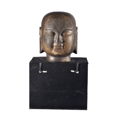 Asian Hand-carved Monk Head Bust Size: X-large
