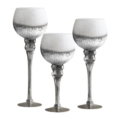 Bentley 3 Piece Glass Candlestick Set Color: White
