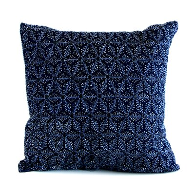 Artisan Origami Jeweled Throw Pillow Color: Navy