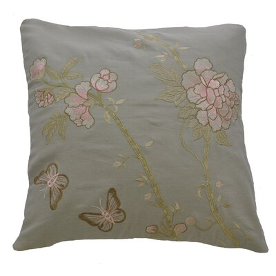 Butterfly and Flowers Embroidered Cotton Throw Pillow
