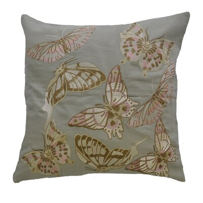 Butterfly Embroidered Linen Throw Pillow