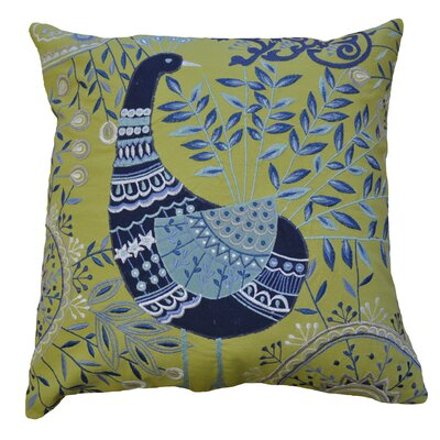 Boho Peacock Embroidered Cotton Throw Pillow Color: Lime