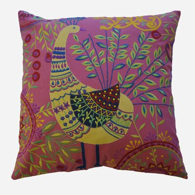 Boho Peacock Embroidered Cotton Throw Pillow Color: Pink