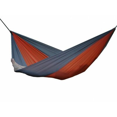 Parachute Nylon Single Camping Hammock Color: Grey/Orange, Size: Double
