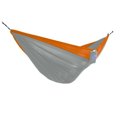 Parachute Nylon Single Camping Hammock Color: Grey/Orange, Size: Double