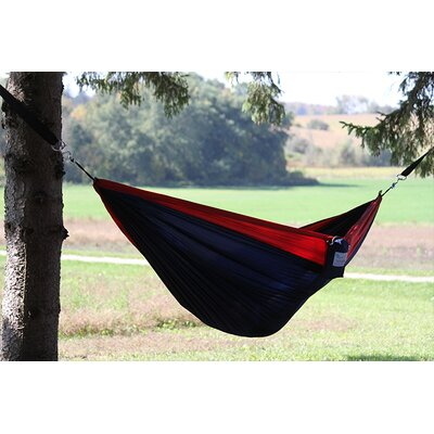 Parachute Nylon Single Camping Hammock Color: Navy/Red, Size: Double