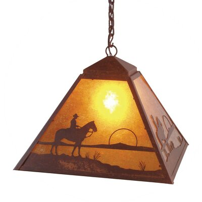 Cowboy Sunset 1-Light Swag Pendant Finish: Old Iron, Shade / Lens: White Mica