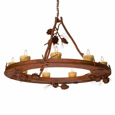Ponderosa Pine 9-Light Candle-Style Chandelier
