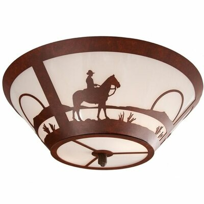 Cowboy Sunset 2-Light Flush Mount