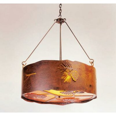 Pinecone 3-Light Drum Pendant Finish: Old Iron, Shade / Lens: Amber Mica