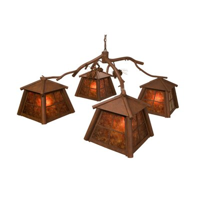 Saranac 4-Light Shaded Chandelier Finish: Old Iron, Shade / Lens: Amber Mica