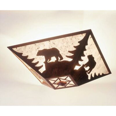 Bear Drop Ceiling Mount Finish: Rust, Shade Color: Slag Glass Pretended