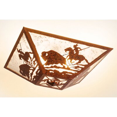 Buffalo Hunt Drop Ceiling Mount Finish: Old Iron, Shade Color: Amber Mica