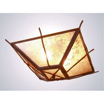 Bundle of Sticks Drop Ceiling Mount Finish: Old Iron, Shade Color: Amber Mica