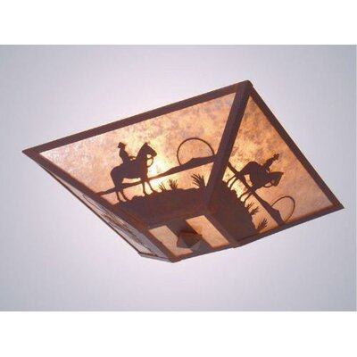 Cowboy Sunset Drop Ceiling Mount Finish: Old Iron, Shade Color: Slag Glass Pretended