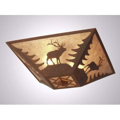 Elk Drop Ceiling Mount Finish: Mountain Brown, Shade Color: Amber Mica
