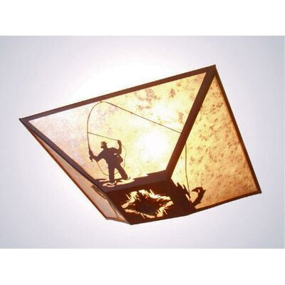 Fly Fisherman Drop Ceiling Mount Finish: Old Iron, Shade Color: Amber Mica