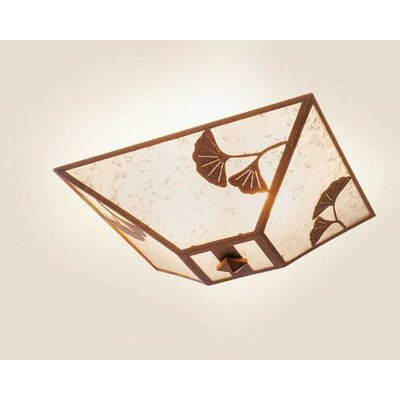 Ginkgo Drop Ceiling Mount Finish: Old Iron, Shade Color: Amber Mica