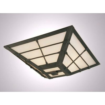 Ferron Forge Drop Ceiling Mount Finish: Black, Shade Color: Amber Mica