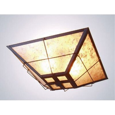 Lapaz Drop Ceiling Mount Finish: Old Iron, Shade Color: Amber Mica