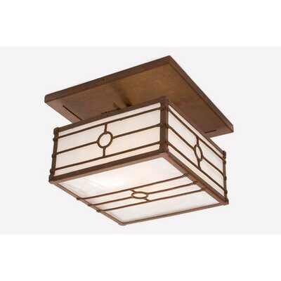 Historic California Drop Semi Flush Mount Ceiling Light Finish: Old Iron, Shade Color: Amber Mica