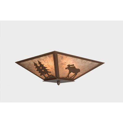 Moose Ceiling Mount Finish: Mountain Brown, Shade Color: Slag Glass Pretended