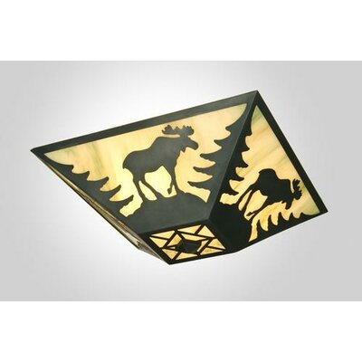 Moose Drop Ceiling Mount Finish: Mountain Brown, Shade Color: White Mica