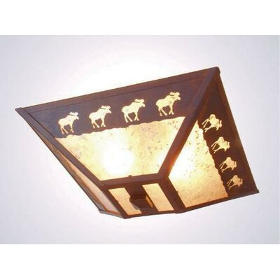Band of Moose Drop Ceiling Mount Finish: Old Iron, Shade Color: Amber Mica