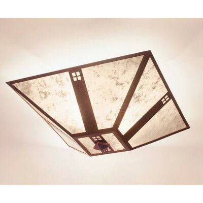 Pasadena Drop Ceiling Mount Finish: Old Iron, Shade Color: Amber Mica