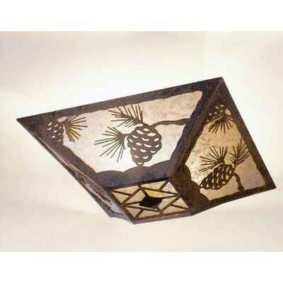 Pinecone Drop Ceiling Mount Finish: Old Iron, Shade Color: Amber Mica