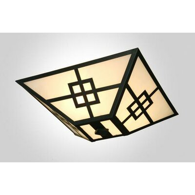 Prairie Drop Ceiling Mount Finish: Black, Shade Color: Slag Glass Pretended
