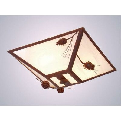 Ponderosa Pine Drop Ceiling Mount Finish: Old Iron, Shade Color: Amber Mica