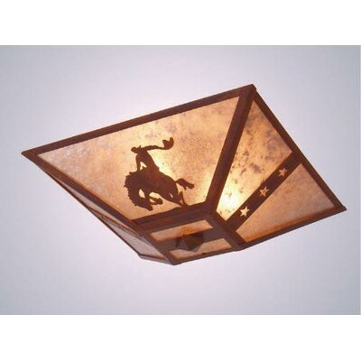8 Seconds Drop Flush Mount Finish: Old Iron, Shade Color: Slag Glass Pretended