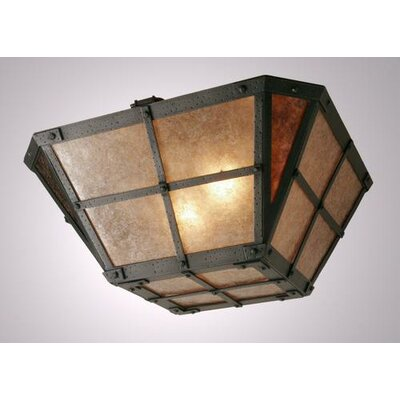 San Carlos Drop Semi Flush Mount Ceiling Light Finish: Black, Shade Color: Amber Mica