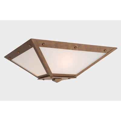 Rogue River Ranch Drop Ceiling Mount Finish: Black, Shade Color: White Mica