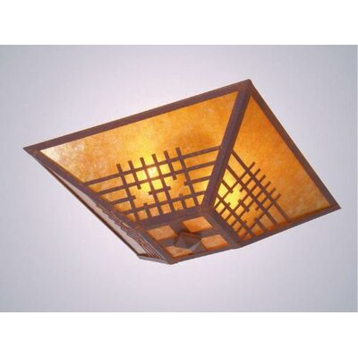 San Marcos Drop Ceiling Mount Finish: Black, Shade Color: Amber Mica