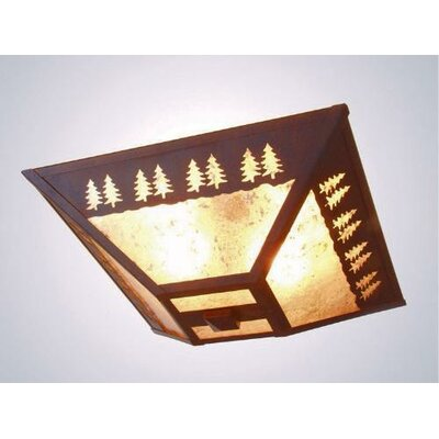 Band of Trees 2-Light Drop Ceiling Mount Finish: Old Iron, Shade Color: Bungalow Green