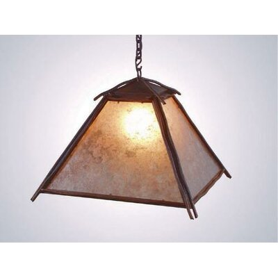 Bundle of Sticks 1-Light Swag Pendant Finish: Old Iron, Shade / Lens: Bungalow Green