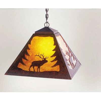 Elk 1-Light Swag Pendant Finish: Old Iron, Shade / Lens: Amber Mica