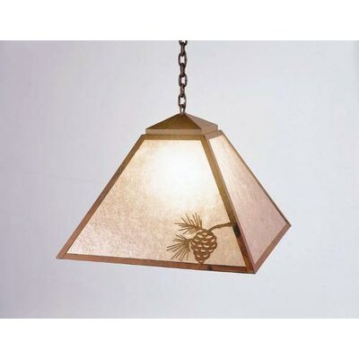 Mission 1-Light Swag Pendant Finish: Mountain Brown, Shade / Lens: Bungalow Green