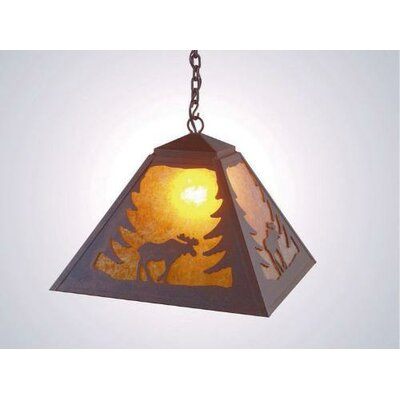 Moose 1-Light Swag Pendant Finish: Old Iron, Shade / Lens: Slag Glass Pretended