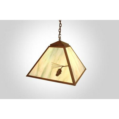 Ponderosa Pine 1-Light Swag Pendant Finish: Old Iron, Shade / Lens: Amber Mica