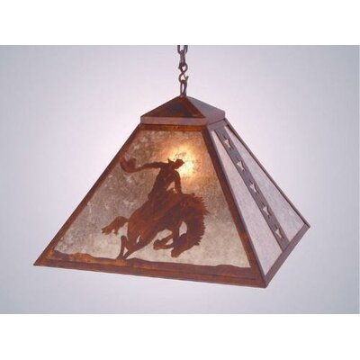 8 Seconds 1-Light Swag Pendant Finish: Mountain Brown, Shade / Lens: White Mica